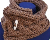 Hazelnut Cabled Wool Blend Scarfette with Wood Button
