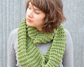 Large Knitted Circular Scarf | cowl | sage green | oversized | warm | knit |trishafern | handmade | soft