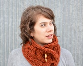 Dark Pumpkin Orange Cabled Wool Blend Scarfette with Wooden Toggle Button