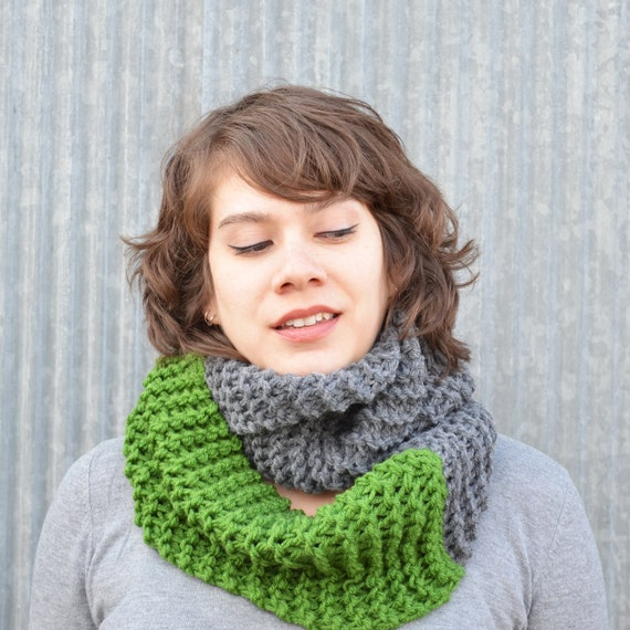 Kelly Green and Slate Infinity Scarf circular cowl woman girl man unisex grass grey gray knit handmade under 30 50