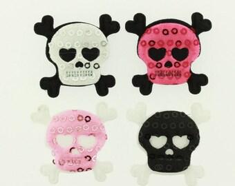 Padded Sequin Skull and Cross Bones Applique - 4 colors (20 pieces) tw-025-m