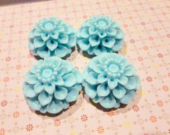 Clearance - 35mm Resin Cabochon Chrysanthemum Flower in Sky Blue - 12 pieces