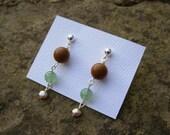 Brown, Green, and Pearl Earrings