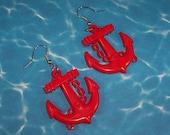 Big Jumbo Huge Honking Red Anchor Nautical Earrings