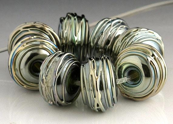 Metallic Trails Lampwork Bead Set