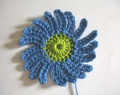 Lime Green and Blue Crocheted Daisy Flower Embellishments