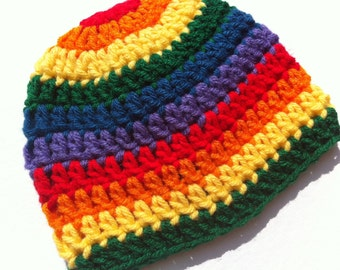 Crochet Baby Hat Rainbow Brite Striped