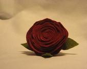 Felt red rose brooch