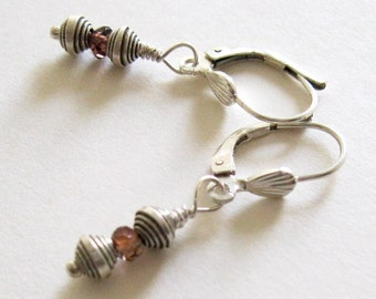 Andalusite & Karen Hill Tribe and Sterling Silver Earrings - UK Seller