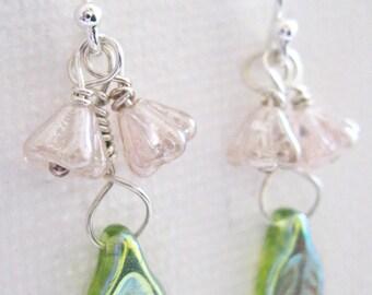 Light Pink Bell flower And Green Leaf Earrings. Sterling Silver Earrings. Dainty Floral Earrings. Blossom Earrings. UK Seller