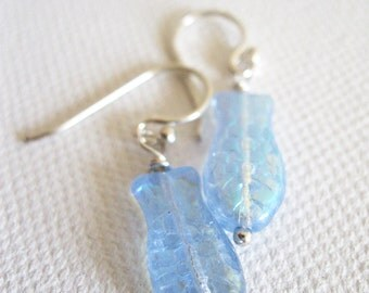 Dainty Blue Fish Earrings. Sterling Silver Earrings. Pisces Earrings. Modern Earrings. Glass Bead Earrings. Wedding Earring.UK Shop