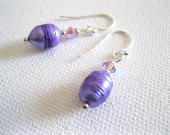 Royal Purple Freshwater Pearl and Lilac Swarovski Crystal Sterling Silver Earrings - UK Seller
