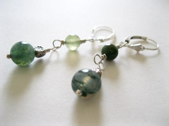Moss Agate & Karen Hill Tribe Silver Bead Earrings - UK Seller