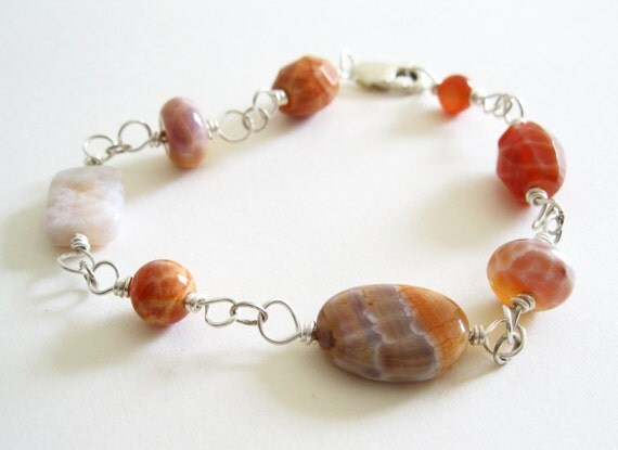 Sterling Silver Fire Crab Agate Bracelet. Gift For Her. UK Seller