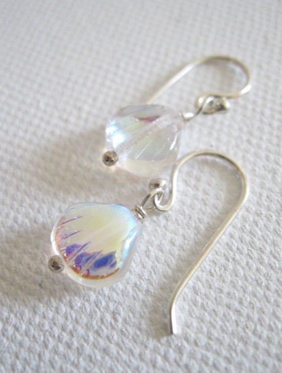Simple Shell Glass Bead & Sterling Silver Earrings UK Seller