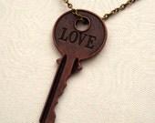 Steampunk LOVE Skeleton Key Necklace, SAN-385