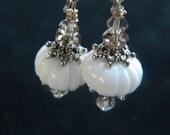 RESERVED Listing for SatinRoseBud Pumpkin Patch White Pumpkin Earrings