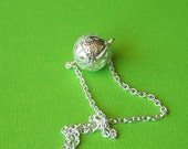 Silver ball necklace, silver plated filigree ball on silver plated chain.