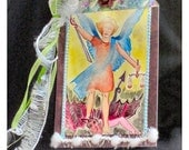 ACEO mounted and dressed up with ribbons, bows, Catholic St. Michael angel