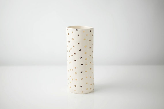 Gold dot vase by upintheairsomewhere on etsy for Dot wall vase