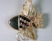 14k Gold Filled Wire Wrapped Art Pendant Slide Angelfish rainbow Obsidian and Swarovski Crystal