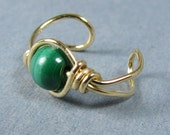 14k gold filled Ear Cuff Malachite Green ear cuff customize cartilage earring choice of bead non pierced