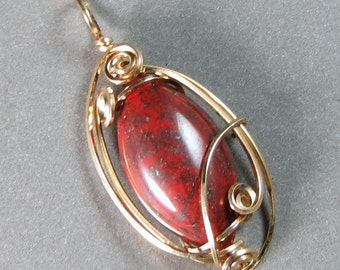 Brecciated Jasper wire wrapped pendant Petite 14k gold filled wire art