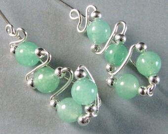 Ear Sweeps Ear Climbers Sterling Silver and Green Aventurine gemstone beads