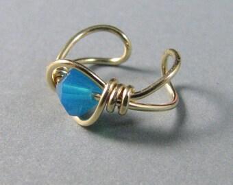 Ear Cuff 14k Gold Filled Caribbean Blue Opal Swarovski Crystal OR Choose a Color