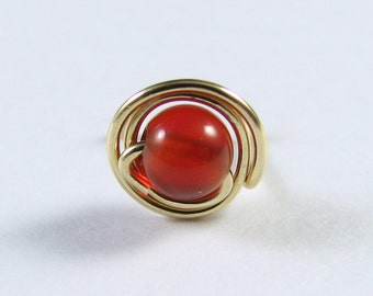 Nose Screw Stud Carnelian and 14K GF Wire Double Wrap