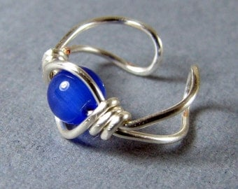 Sterling Silver Ear Cuff Cobalt Royal Blue Cats Eye non pierced choice of bead cartilage earring