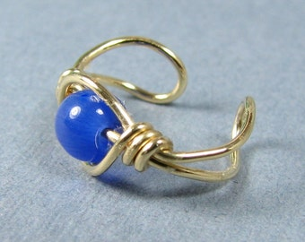 14k Gold Filled Ear Cuff Cobalt Royal Blue Cats Eye cartilage earring non pierced custom choice of bead