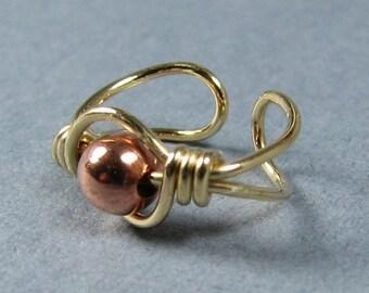 14k Gold Fill and Copper Ear Cuff Non Pierced Cartilage Earring ear wrap, minimalist