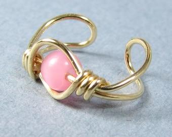Ear Cuff 14k Gold Filled Ear Cuff Rose Pink Cats Eye Non Pierced Cartilage Earring