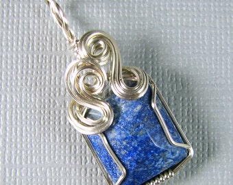 Sterling Silver Lapis Lazuli Wire Wrapped Pendant