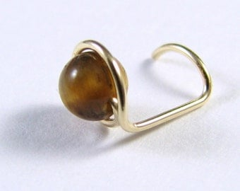 Nose Screw Stud 14K Gold Filled and Tiger Eye Single Wrap