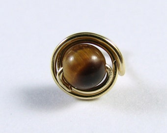 Nose Screw Stud 14K Gold Filled and Tiger Eye Double Wrap