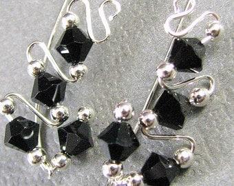 Black Ear Climbers Ear Sweeps Sterling Silver Swarovski Crystal Bead Customizable Wire Wrapped Earrings