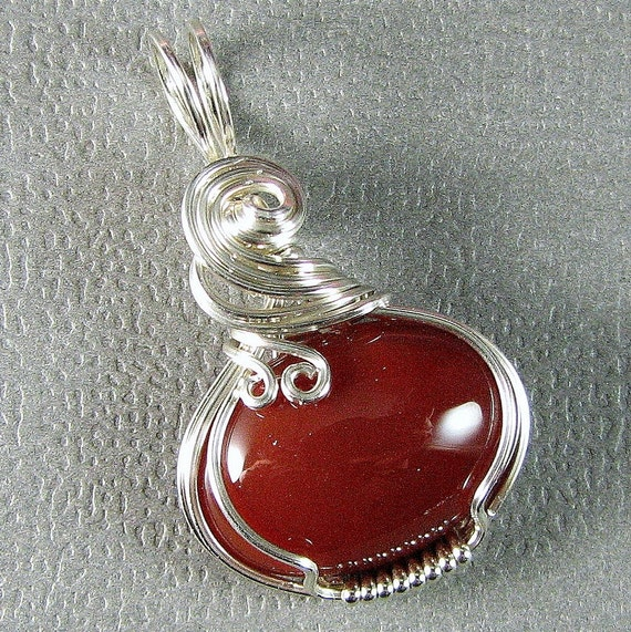 Carnelian and Sterling silver Wire Art Pendant