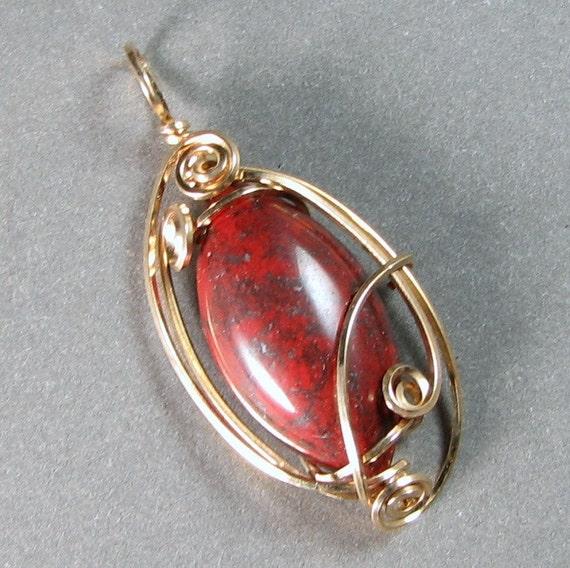 Brecciated Jasper wire wrapped pendant Petite 14k gold filled wire art