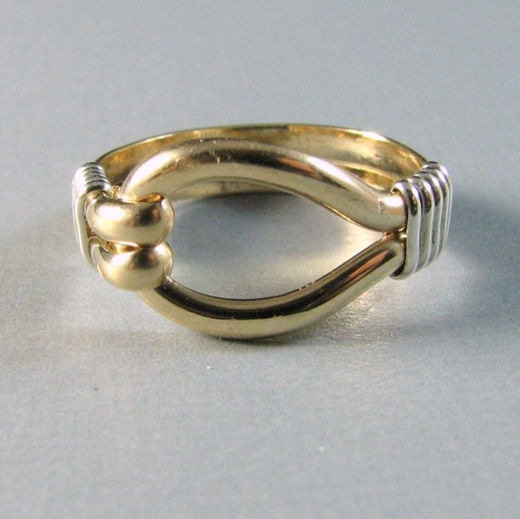 14K Gold fill and Sterling Silver Two Tone Loop Ring Custom Sized mixed metal