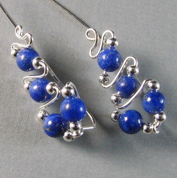 Ear Climber Sterling Silver and Lapis Lazuli Ear Sweeps Ear Jacket Cuff Ear Wrap