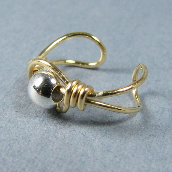 Ear Cuff 14k Gold Filled wire and Sterling Silver Bead cartilage earring custom choice of bead non pierced