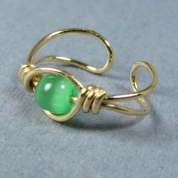 14k Gold Filled Ear Cuff and Spring Green Cats Eye Non Pierced Choice of Bead Cartilage Earring