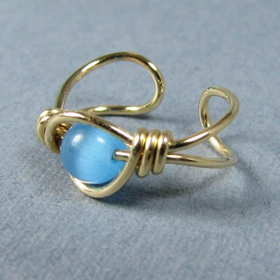 14k Gold Filled Ear Cuff Sky Blue Cats Eye cartilage earring non pierced choice of bead customize