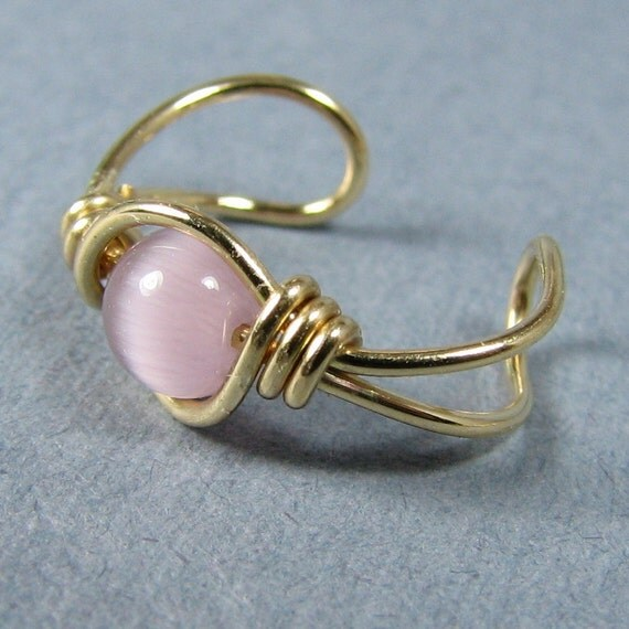 14k Gold Filled Ear Cuff Mauve Cats Eye Non Pierced Cartilage Earring Choice of Beads