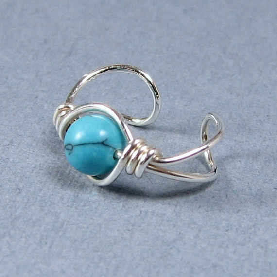 Sterling Silver Ear Cuff Created Turquoise Cartilage earring non pierced choice of bead