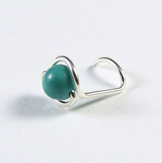 Nose Screw Stud - Sterling Silver and Teal Turquoise - Single Wrapped