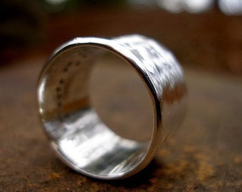 Wide Custom Inscription Hammered Band in Sterling Silver