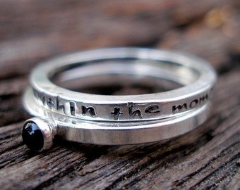 Black Lab Story Stack I Will Live Within The Moment Rings in Sterling and Black Onyx
